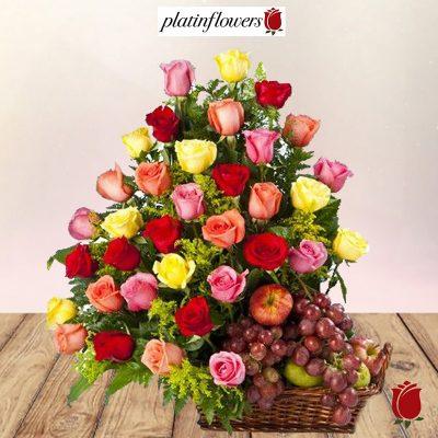 canasta 24 rosas frutas